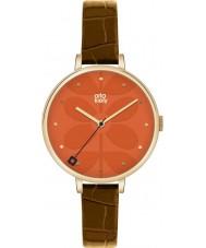Orla Kiely OK2028 Señoras de la hiedra del reloj de la correa de cuero marrón