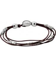 Fossil JA5798040 pulsera de cuero negro de las señoras de la manera con pepitas de plata