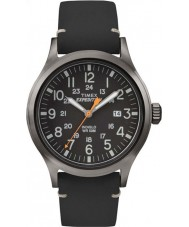 Timex TW4B01900 Mens análogo de expedición de cuero negro reloj de la correa elevado