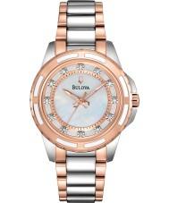 Bulova 98S134 Las señoras del diamante del reloj pulsera de acero de dos tonos