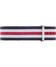 Daniel Wellington DW00200051 Damas clásico Canterbury 36mm plata blanca de nylon azul y rojo de la correa de repuesto