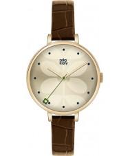 Orla Kiely OK2030 Señoras de la hiedra del reloj de la correa de cuero marrón