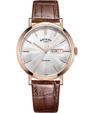 Rotary GS05304-02 Mens relojes Windsor chapado en oro rosa reloj marrón correa de cuero