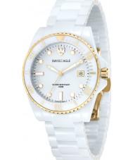 Swiss Eagle SE-9051-22 Para hombre de buceo reloj de la pulsera de cerámica blanco glaciar