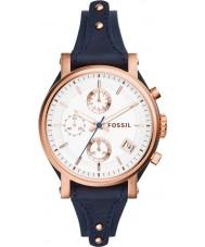 Fossil ES3838 Damas novio originales reloj cronógrafo azul