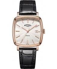 Rotary GS05309-01 Mens relojes Windsor chapado en oro rosa reloj de la correa de cuero negro