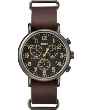 Timex TW2P85400 Weekender reloj cronógrafo de cuero marrón