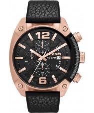 Diesel DZ4297 reloj de la correa de cuero negro para hombre del cronógrafo de desbordamiento