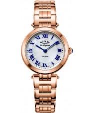 Rotary LB90189-41 Damas les originales de alfalfa aumentó reloj pulsera de acero de oro
