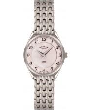 Rotary LB08000-18 Señoras del reloj de acero de plata del tono ultra delgado