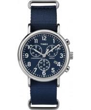 Timex TW2P71300 Weekender deslizamiento a través de reloj cronógrafo azul