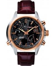 Timex T2N942 Tiempo del reloj para hombre negro marrón mundo