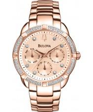 Bulova 98W178 Las señoras del diamante chapado en oro rosa reloj cronógrafo