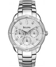 Bulova 96R195 reloj pulsera cronógrafo de acero de plata damas diamante
