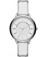Armani Exchange AX5300 reloj del vestido de la correa de cuero blanco de las señoras