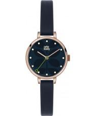 Orla Kiely OK2036 Señoras de la hiedra del reloj de la correa de cuero azul marino