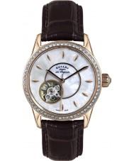 Rotary LS90515-41 Damas les originales reloj de la correa de cuero marrón automático de Jura