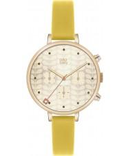 Orla Kiely OK2038 Señoras de hiedra cronógrafo de oro reloj de la correa de cuero amarillo
