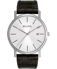 Bulova 96B104 vestido negro de cuero para hombre reloj de la correa