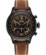 Dogfight DF0032 Para hombre reloj cronógrafo compañero de ala de cuero marrón