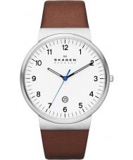 Skagen SKW6082 Mens klassik reloj de la correa de cuero marrón