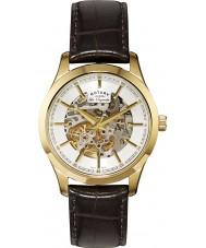 Rotary GS90526-06 Mens les originales reloj marrón de oro esqueleto automática