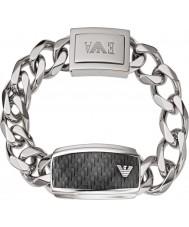 Emporio Armani EGS1688040 Para hombre de la firma de fibra de carbono brazalete de identificación de acero de plata