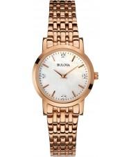 Bulova 97S106 Las señoras del diamante chapado en oro rosa reloj pulsera