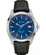 Bulova 96B257 reloj de la correa de cuero negro para hombre Precisionist