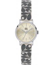 Orla Kiely OK2043 reloj de la correa de cuero de impresión Patricia crema de bellota damas