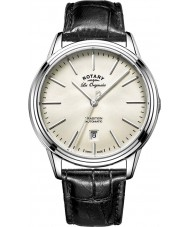 Rotary GS90161-32 Mens les originales reloj de la correa de cuero negro de acero automático de la tradición