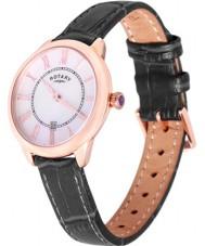 Rotary LS02919-41 reloj de la correa de cuero negro Relojes de Elise