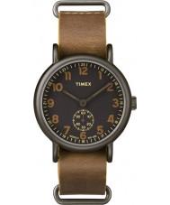 Timex TW2P86800 reloj de la correa de cuero para hombre moreno de fin de semana