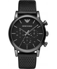 Emporio Armani AR1737 Reloj para hombre de la correa de cuero negro clásico ip de cronógrafo