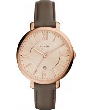 Fossil ES3707 Señoras del reloj de la correa de cuero gris Jacqueline