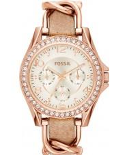 Fossil ES3466 Damas riley reloj de la correa de cuero de arena