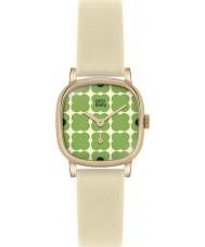Orla Kiely OK2052 Señoras cecelia reloj verde florido correa de cuero color crema