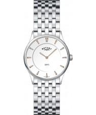 Rotary LB08200-02 Señoras del reloj de acero blanco ultra delgado