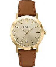 Bulova 97B135 vestido para hombre de cuero marrón reloj de la correa