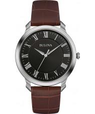 Bulova 96A184 vestido para hombre de cuero marrón reloj de la correa