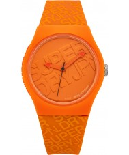 Superdry SYG169O reloj de la correa de silicona naranja urbano con el logotipo impreso en color naranja