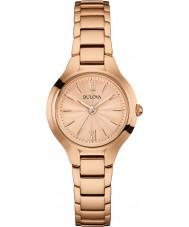 Bulova 97L151 vestido de las señoras reloj de oro rosa plateado