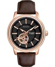 Bulova 97A109 Para hombre subió reloj mecánico marrón de oro