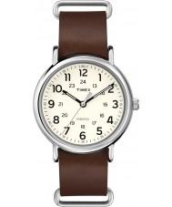 Timex T2P495 reloj de la correa de cuero marrón de fin de semana