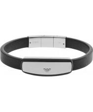 Emporio Armani EGS2186040 Para hombre de la firma pulsera de cuero negro