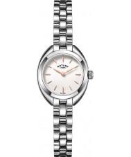 Rotary LB05013-02 Relojes de plata menuda reloj de acero de tono