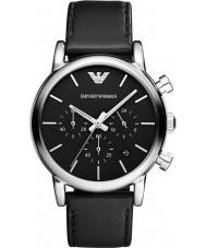 Emporio Armani AR1733 Reloj para hombre de la correa de cuero negro clásico cronógrafo
