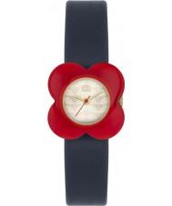 Orla Kiely OK2062 Las señoras de la amapola de reloj correa de cuero caso marino flor roja