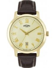 Rotary GS02462-03 reloj de la correa de cuero marrón para hombre relojes Sloane