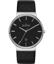 Skagen SKW6104 Reloj para hombre de la correa de cuero negro ancher